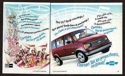 1986 CHEVROLET Astro Vintage Original Print AD - Red minivan art French Canada