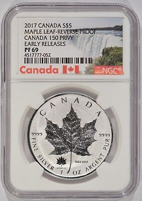 2017 Canada 1 oz Silver Maple Leaf $5 Reverse Proof 150 Privy NGC PF69 052
