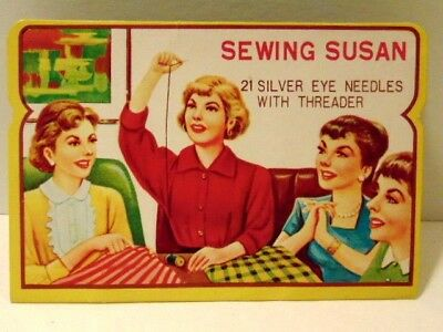 """vintage """"Sewing Susan"""" needle book with most needles still present"""