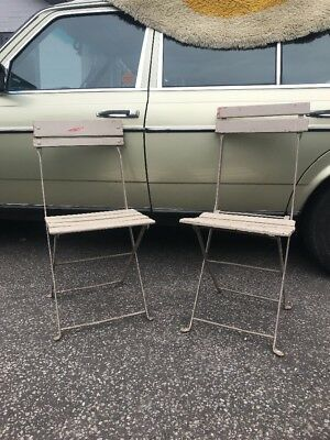 Set Of 2 Vintage Antique French Original Painted Bistro Cafe Chairs grey pair