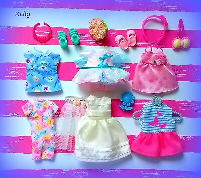 Lot Of Barbie Kelly Doll Clothes Accessories Plus Shoe E
