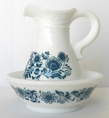 Decorative Collectible Blue Floral On Milkglass Avon Crystal Pitcher And Bowl