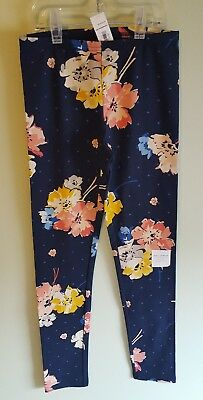 NEW Old Navy Girls 10-12 Floral Leggings Pants NAVY BLUE Pink Yellow  #211818