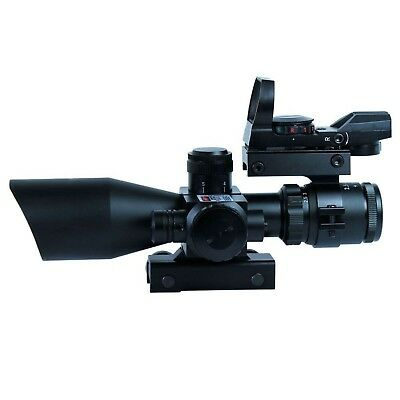 Holographic 2.5-10X40 Tactical w/ Red Laser & Green/Red Dot Sight Rifle Scope