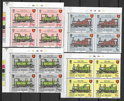 ISLE OF MAN 1973 STEAM RAILWAY CENTENARY TRAINS 4v Top Left Corner Blocks MNH