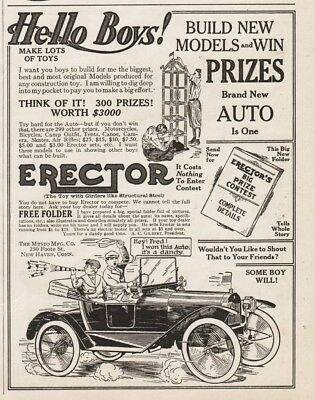1915 Gilbert Erector Set Building Contest Winner Gets Automobile HELLO BOYS Ad