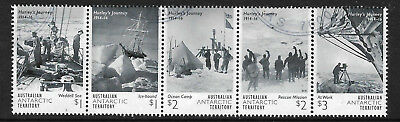 AUSTRALIA ANTARCTIC AAT 2016 HURLEY'S JOURNEY VOYAGE Strip of 5 FINE USED (No 2)