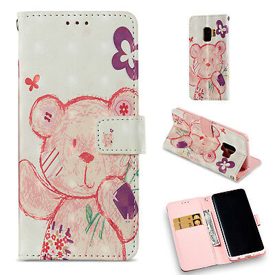Colorful Cute Bear Wallet Leather Cover Case For Samsung Galaxy S9