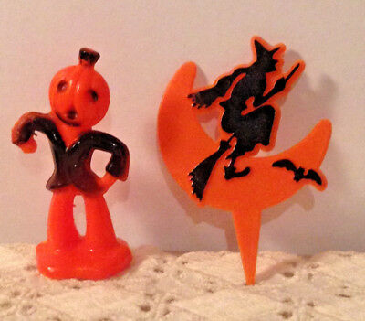 lot of 2 vintage miniature halloween hard plastic decorations
