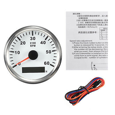 Marine Car RPM Tachometer Gauge LCD Hourmeter 9-32V 0-6000 RPM 85mm White