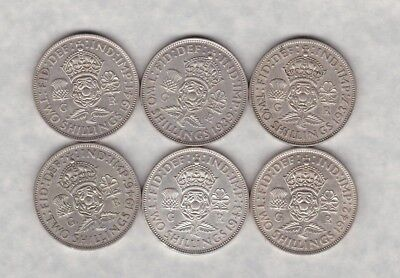 Six 50% Silver Florins 1937/1939/1941/1942/43 & 1946 In Very Fine Condition