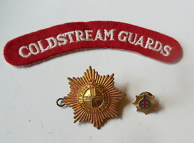 WW II Era Coldstream Guards Cap Badge & Shoulder Tab Original Issue VG Condition