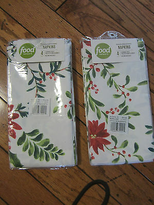 NWT $25 FOOD NETWORK CHRISTMAS NAPKINS X4 HOLLY PINE POINSETTIA RED WHITE 12 ava