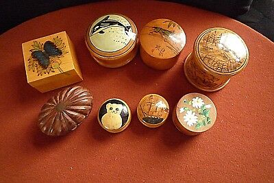 Collection Of Eight Vintage Wooden/treen Hand Crafted Pill/trinket Boxes
