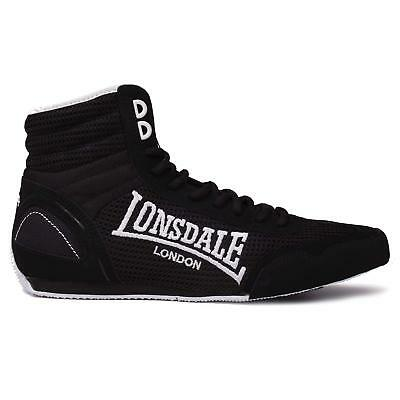 New Lonsdale Contender Low Junior Kids Boxing Boots Black White Shoes rrp £50