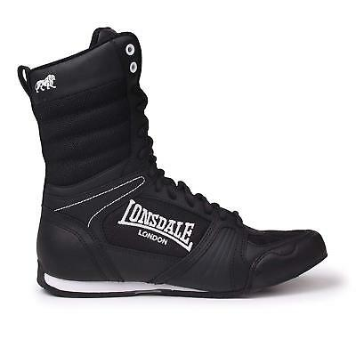 New Lonsdale Contender Hi Top Junior Kids Boxing Boots Black White Shoes rrp £50