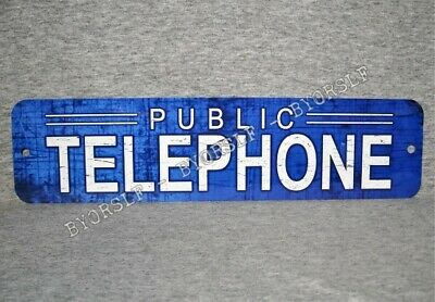 Metal Sign TELEPHONE public pay coin vintage replica phone booth rotary Blue #5