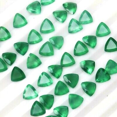 Wholesale Lot of 7x7mm Trillion Cut Natural Green Onyx Loose Calibrated Gemstone