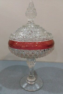 """Indiana Glass Kings Crown Ruby Red Cranberry Flash Diamond Lidded Candy Dish 12"""""""