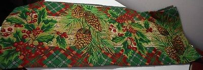 "67"" woven tapestry Table runner Christmas plaid edges pine cones holly Luxurious"