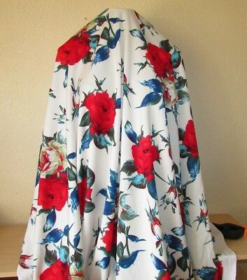 2-yards POLY SCUBA FABRIC 2W STRETCH RED ROSES PRINT Red, White, Blue