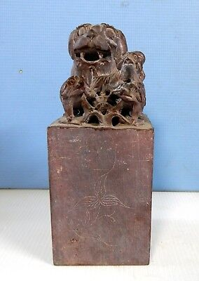 Antique rare Shoushan stone foo dog pubs hand carved circa early 1900s