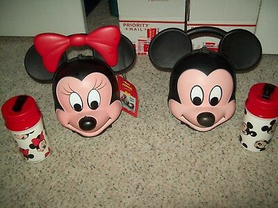 Vintage Walt Disney Mickey Mouse And Minnie  Head Lunchbox Thermos By Aladdin