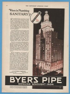 1927 Byers Iron Pipe Niels Esperson Building Houston TX Art Wrought Iron Ad