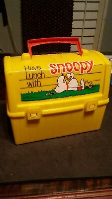 Vintage Go To School with Snoopy Plastic Domed Yellow Lunch Box (NO Thermos)1968