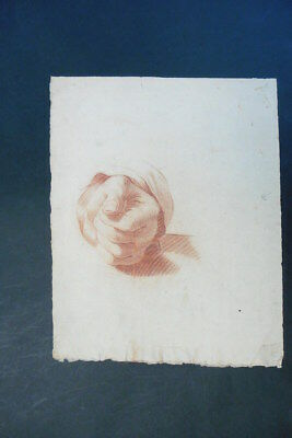 FLEMISH SCHOOL 18thC - SUPERB STUDY OF A HAND - RED CHALK DRAWING