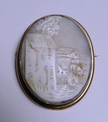 Antique Hand Carved Shell Cameo with Scenic Design Silver Brooch Pin