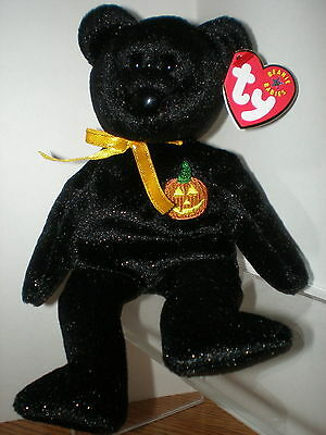 TY Haunt Beanie Baby  Bear Halloween Pumpkin MWMT Beautiful Black with Sparkles