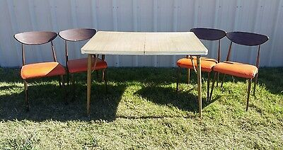 Vintage RETRO Dining Table Set 4 Chairs Kitchen Dinette Furniture