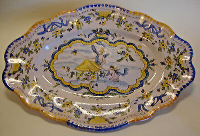 Antique majolica plate marked EF