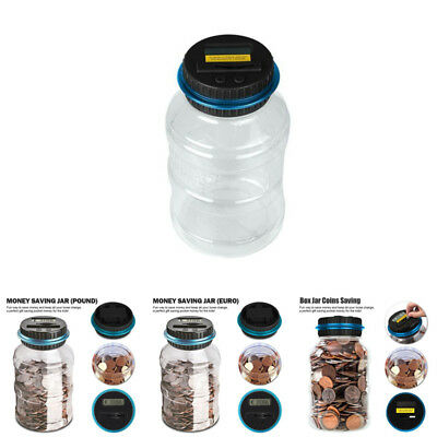 Digital Coin Saving Money Box Jar Automatic Electronic Counting Piggy Bank New//