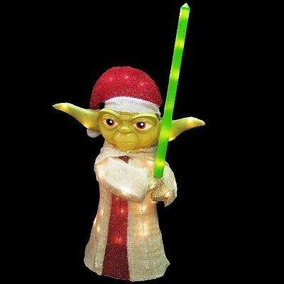 "Star Wars Yoda Lighted Lawn Decor Kurt S. Adler 36""  Figurine Christmas"