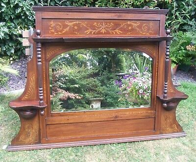 Antique Mahogany Overmantle / Mantle Mirror ~ with Inlaid Decoration
