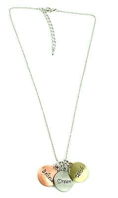 Fashion Believe Wish Dream Letter Inspirational Charm Reversible Necklace