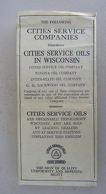 1920's Wisconsin  road map Cities Service gas AAA affiliated Companies