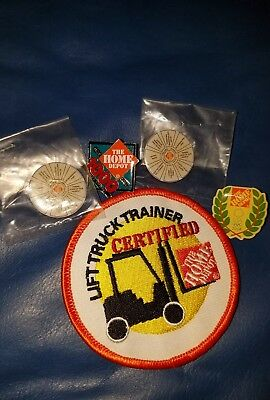 Home Depot lift truck trainer certified patch and 4 lapel pins
