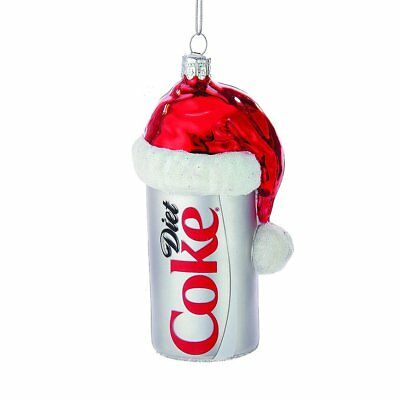 Diet Coke Can with Santa Hat Glass Christmas Tree Ornament Coca Cola CC4163 New