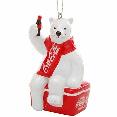 Coca Cola Polar Bear Sitting on Cooler Christmas Tree Ornament Coke CC1124 New