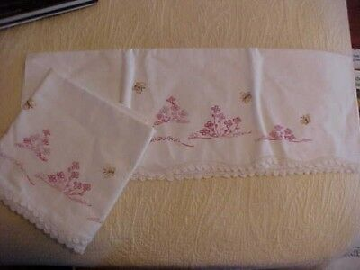 VINTAGE Embroidered PILLOWCASES  Pink Flowers and Butterflies w/ White Crochet