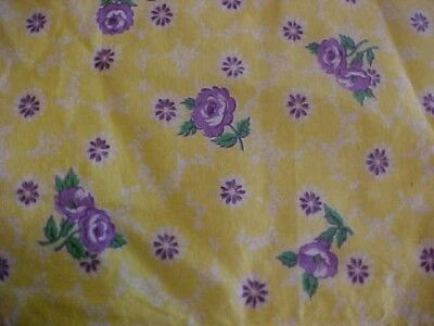 Vintage Feedsack Apron; Yellow Background With Purple Floral Pattern