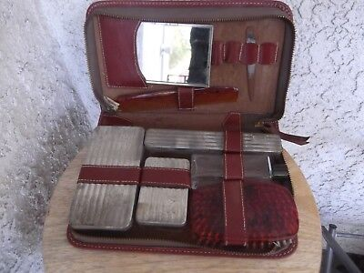 Antique/vintage Shaving Travel Kit Art Deco  W/ Comb Soap Case Etc