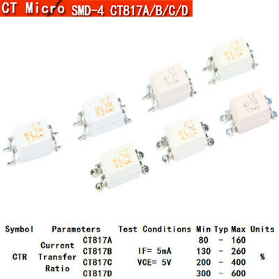 Photo Optocoupler SMD Optoisolator CT817 A/B/C/D SOP-4 Compatible PC817 EL817