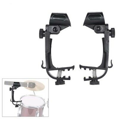 Adjustable 2Pcs Plastic Clip On Drum Mount Microphone Mic Clamp Holder Stand LG