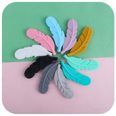 DIY 1pcs Food  Silicone Feather Teether Baby Chew Teething Necklace Making Toy
