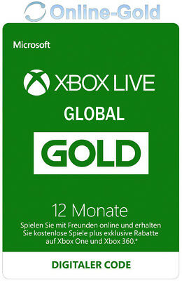12 Monate XBOX Live Gold Mitgliedschaft Code Microsoft ONE 360 - GLOBAL VERSION