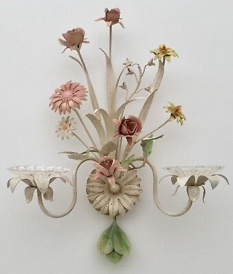 Wall Sconce Hand Made - Painted Steel & Glass Floral Bouquet Candle Holder Decor